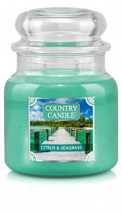 Country Candle - Citrus & Seagrass - Średni słoik (453g) 2 knoty