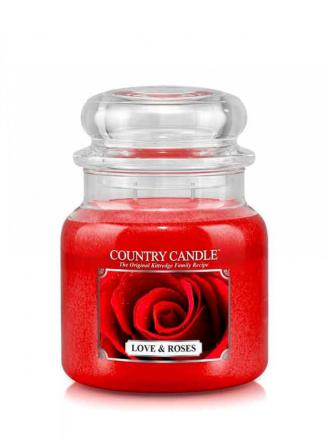 Country Candle  Love & Roses   Średni słoik (453g) 2 knoty