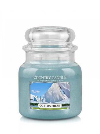 Country Candle  Cotton Fresh   Średni słoik (453g) 2 knoty